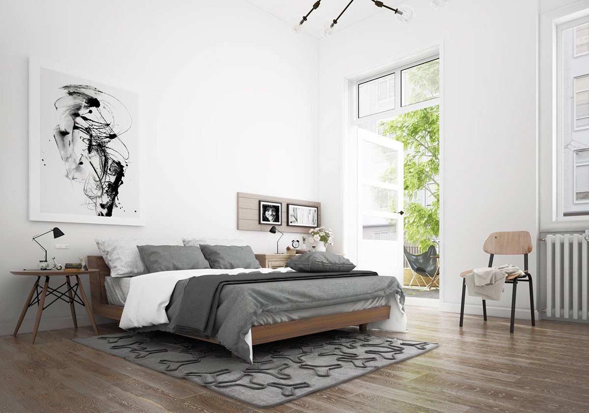 phòng ngủ đẹp tone xám trắng