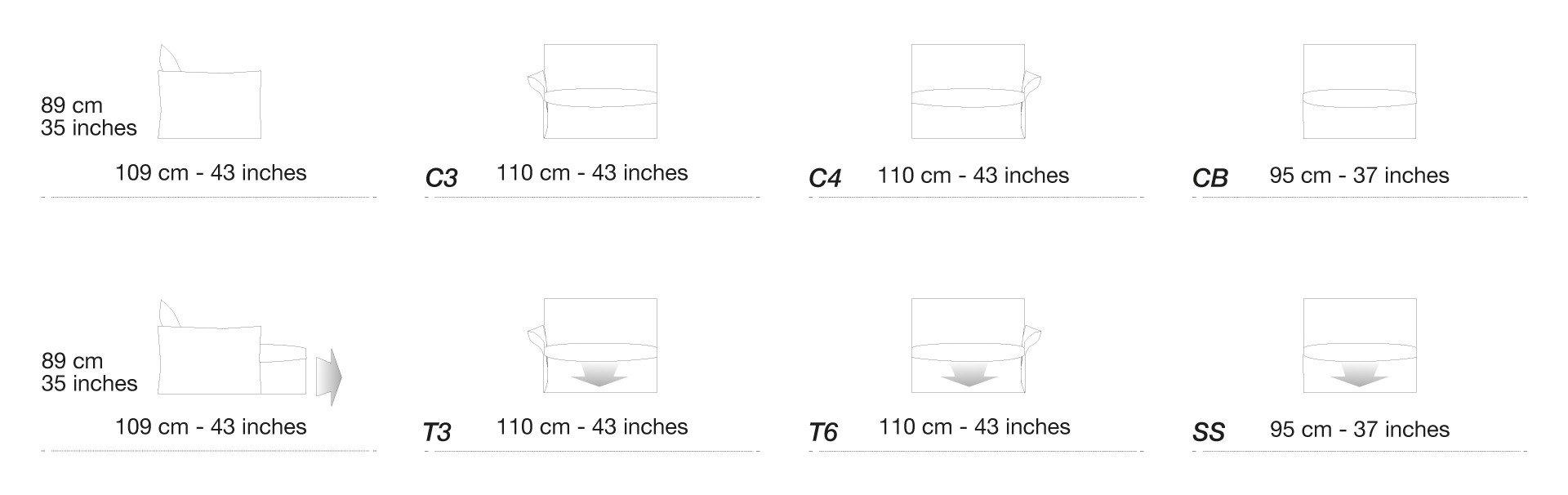 Kích thước số đo của bộ ghế sofa Softy