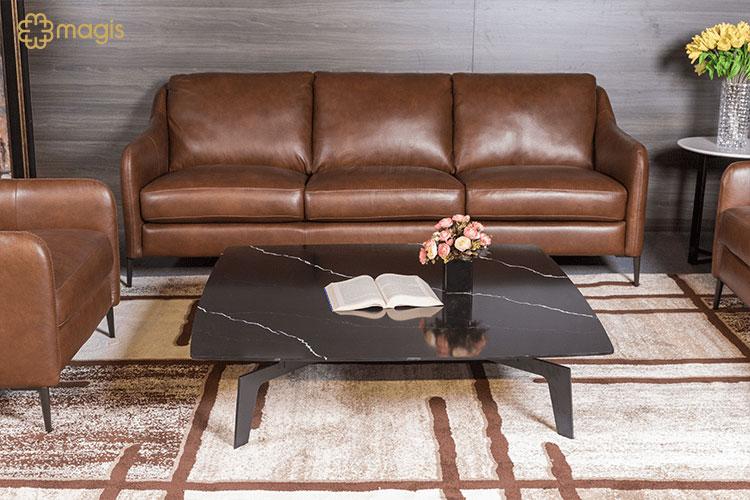 bộ sofa da nâu bàn đá