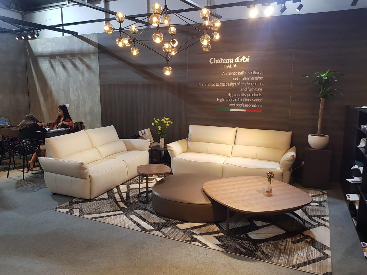 sofa da trắng Kenli