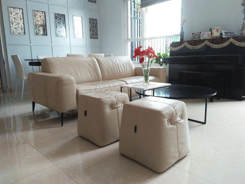 sofa da sissy trắng