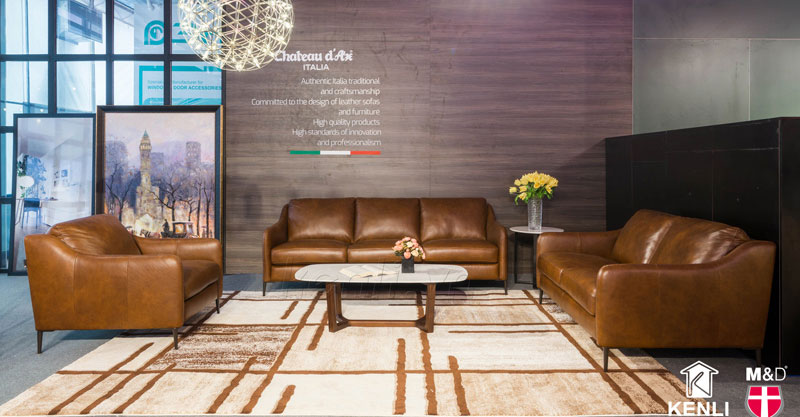 bộ sofa da nâu phòng khách bàn đá