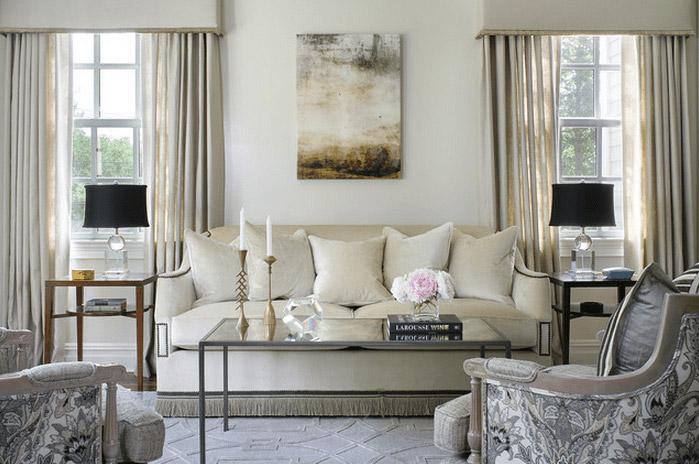 bộ sofa vải trắng
