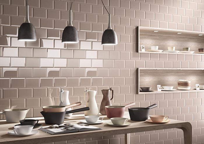 nhà bếp đẹp với chất liệu gốm