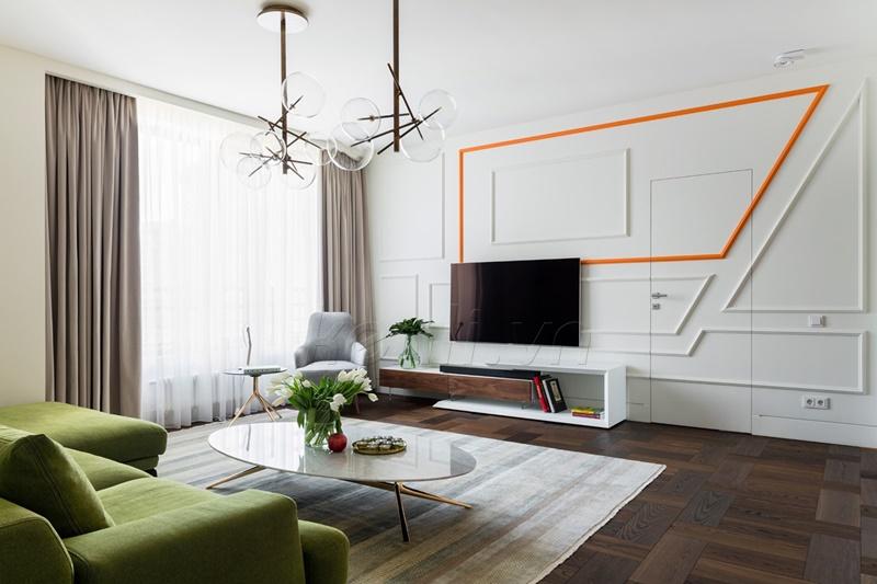 phòng khách hiện đại màu trắng