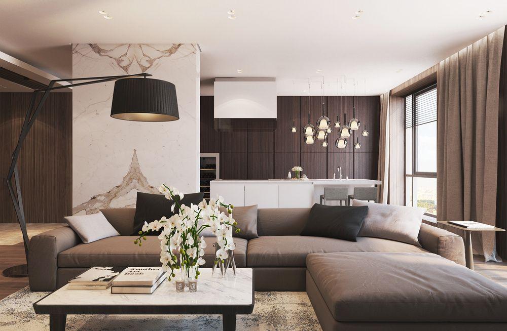 phòng khách hiện đại với sofa da thật