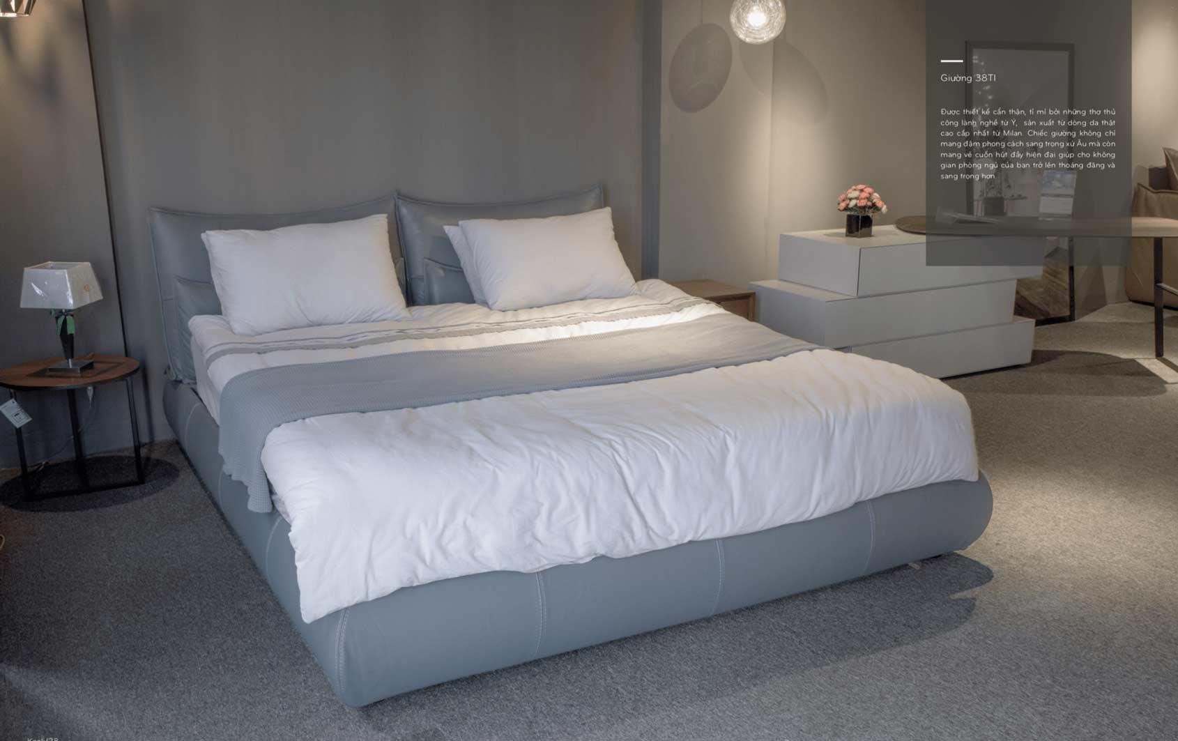 2 mẫu giường bọc da thật cao cấp đang được ưa chuộng