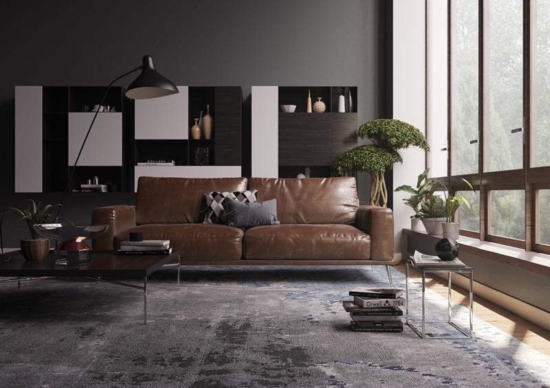 Bộ sofa cùng tấm trải sản màu lạnh