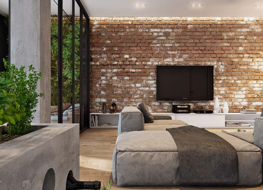thiết kế phòng khách với tường gạch