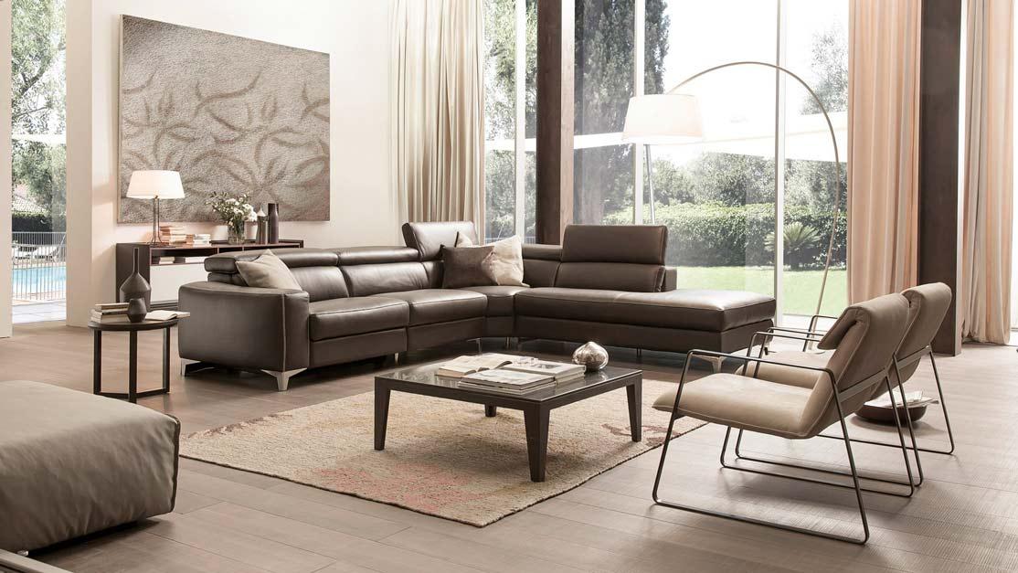 Phòng khách biệt thự với sofa góc chữ L hiện đại