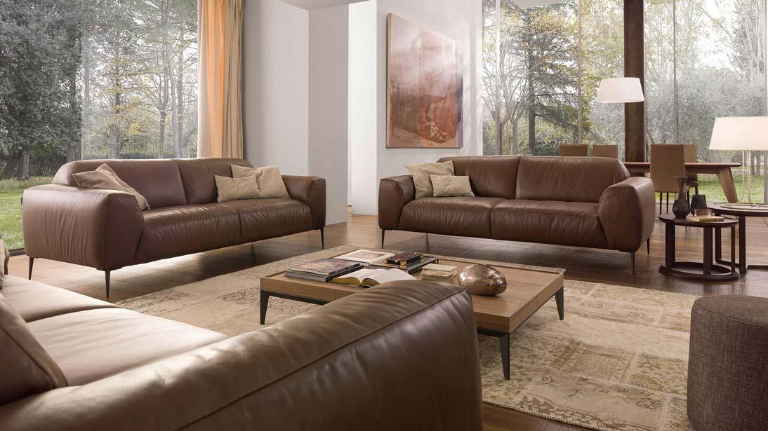 bộ bàn ghế sofa da nâu