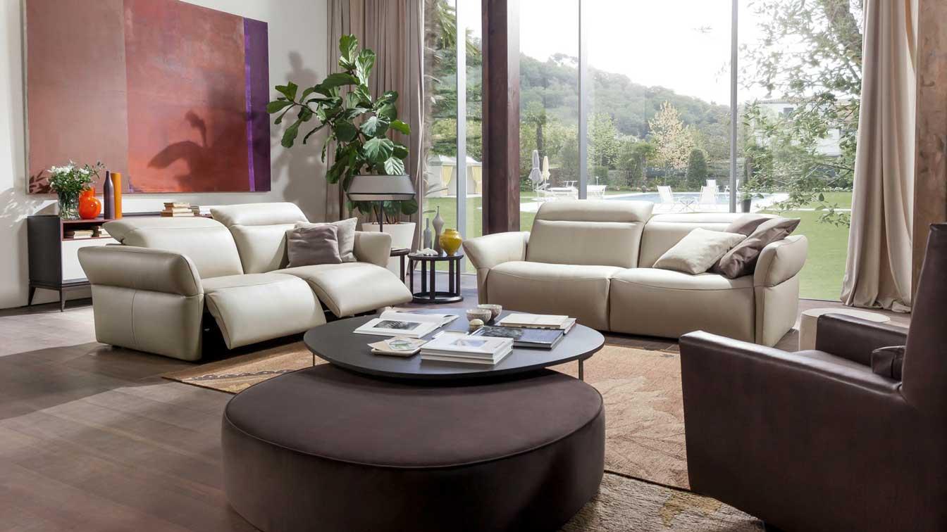 sofa da trắng và nâu