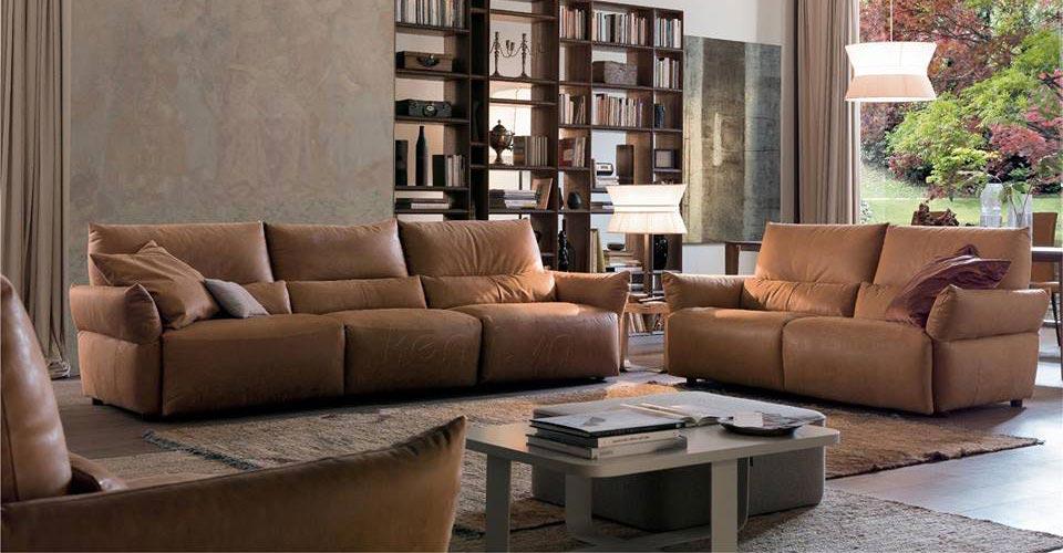 Mẫu sofa phòng khách màu nâu không sợ lỗi mốt