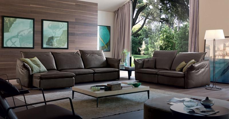 bộ sofa da bóng sẫm màu