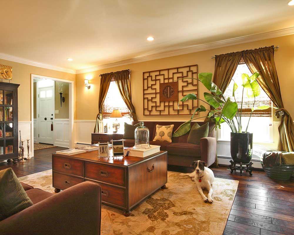 Phòng trang trí nội thất gam màu ấm