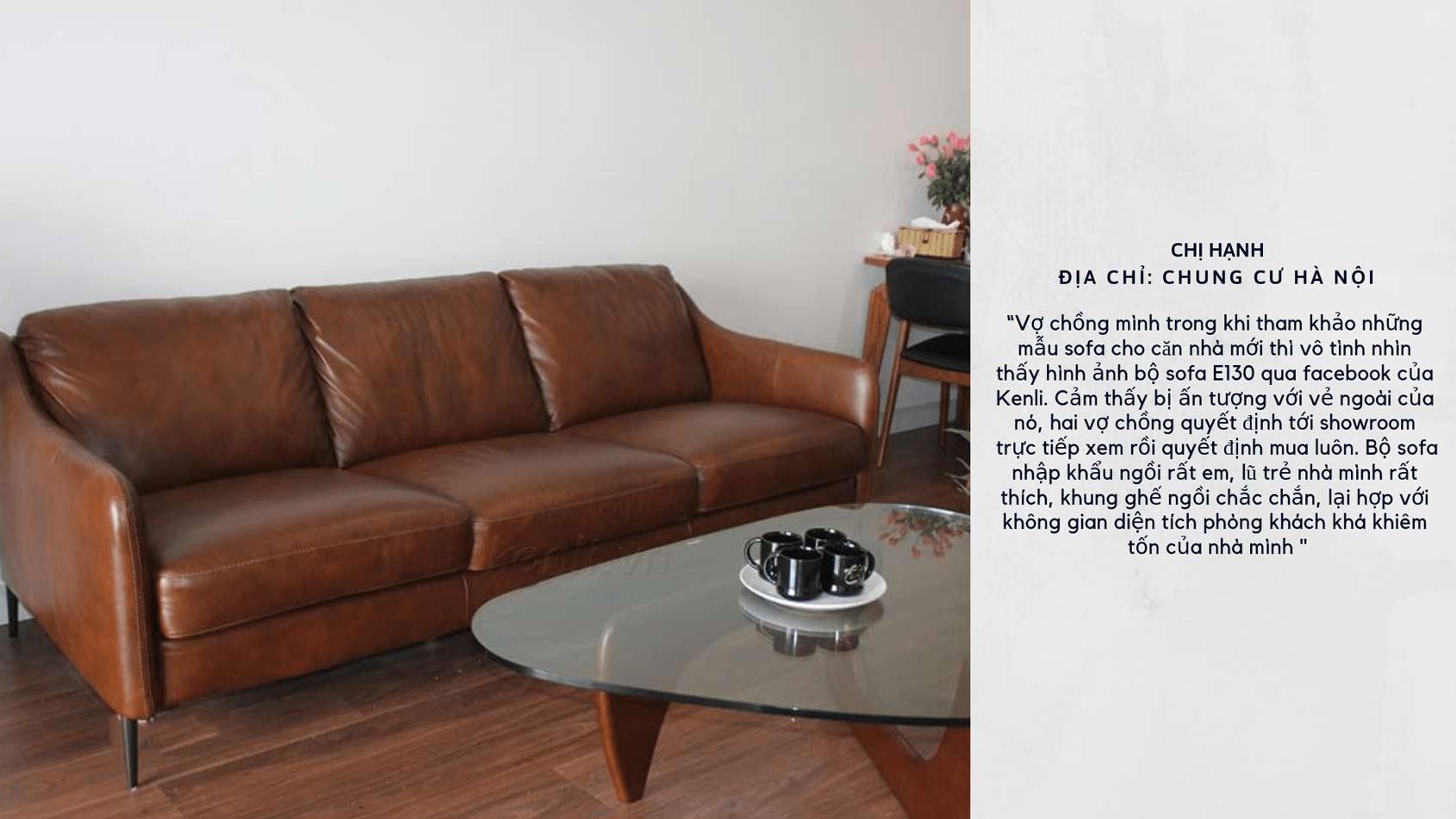 Sofa e130 kết hợp bàn trà Canva