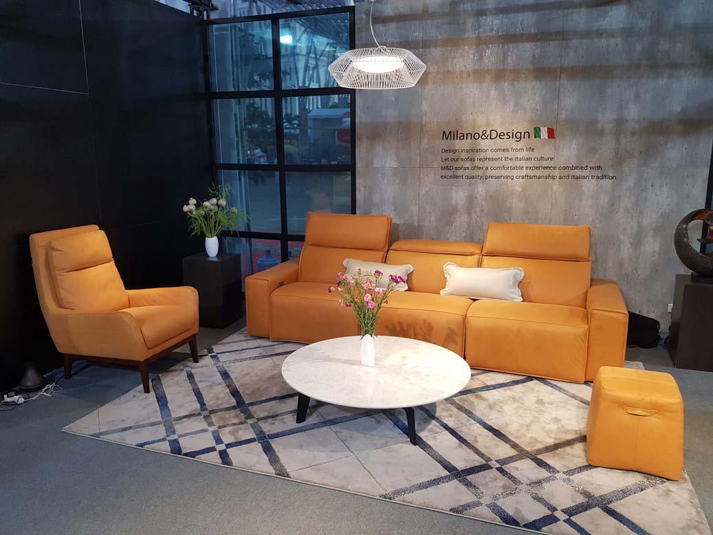 ghế sofa da vàng bàn đá