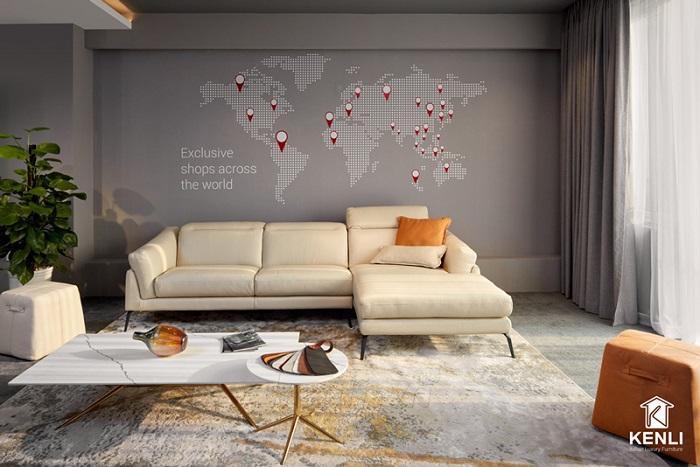 Thiết kế Sofa góc chất liệu da thật cao cấp