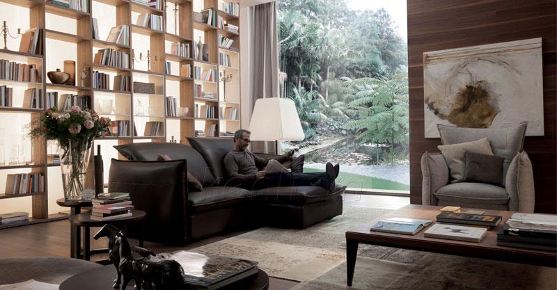 bộ sofa da nâu đậm chữ L