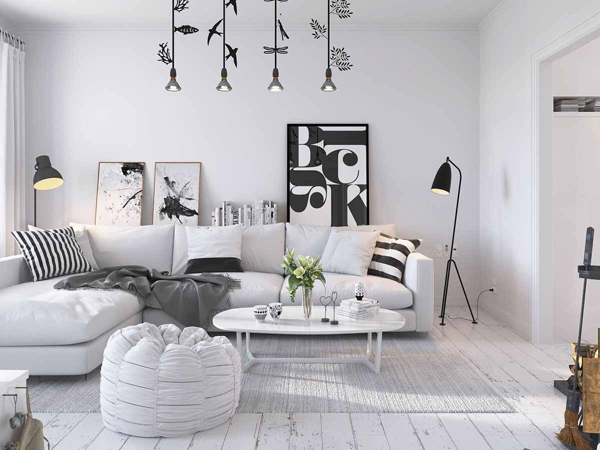 phòng khách hiện đại thiết kế tone đen trắng