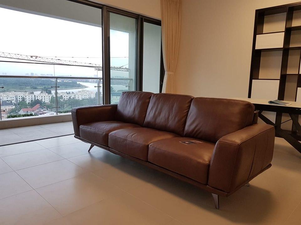 Sofa da F029 nâu