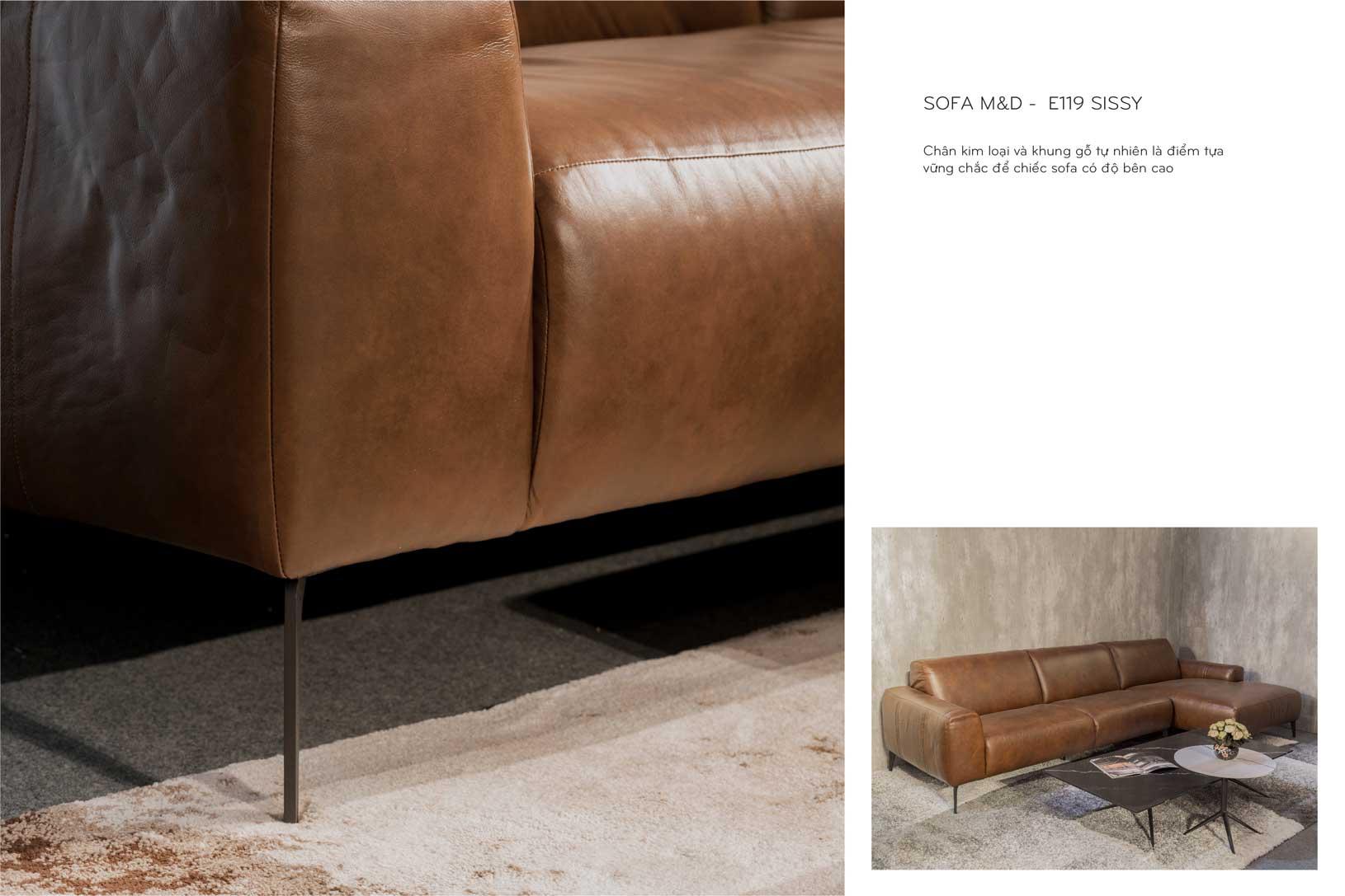 Sofa da thật nhập khẩu E119 có chân ghế thanh mảnh
