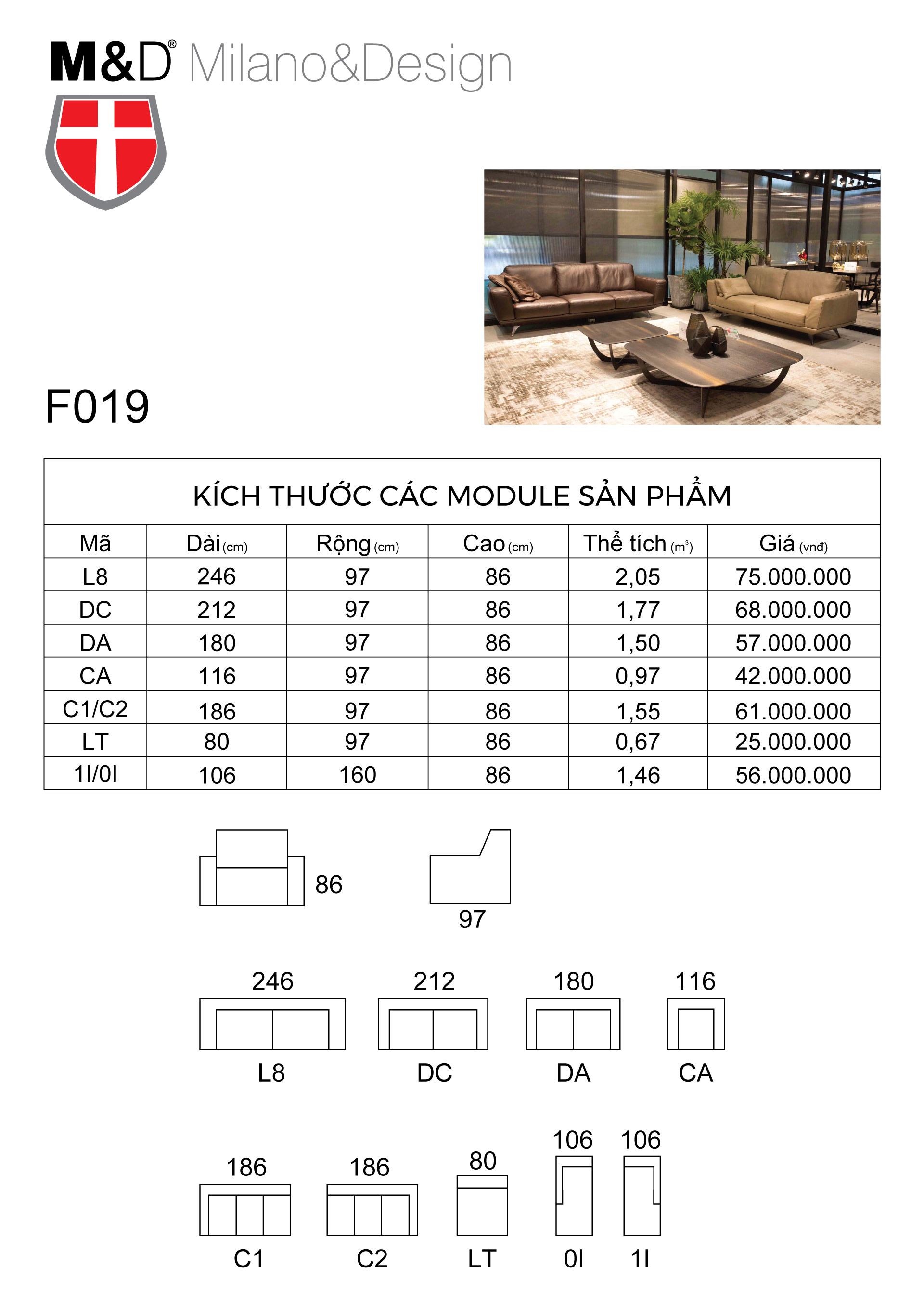 miêu tả kĩ thuật sofa da F019