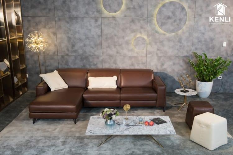 Sofa da thật FE10 văng L3 lớn có thiết kế tinh tế