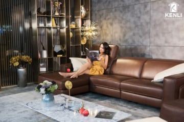 Sofa da thật FE10 văng L3 có động cơ