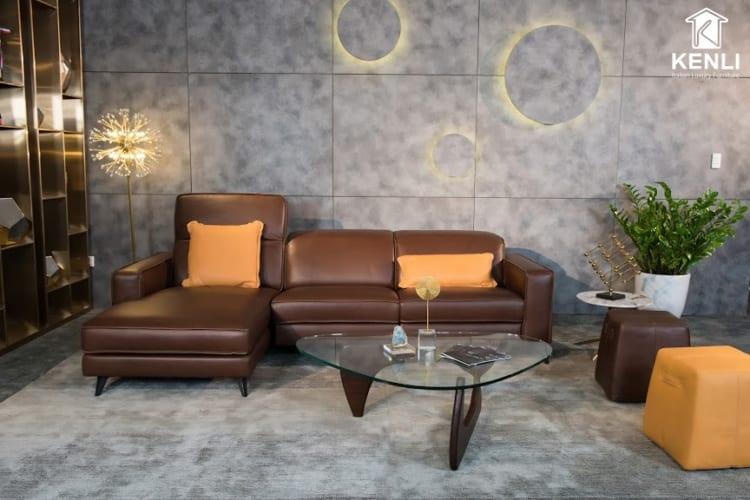 Sofa da thật FE10 văng L3 có động có thiết kế độc đáo.