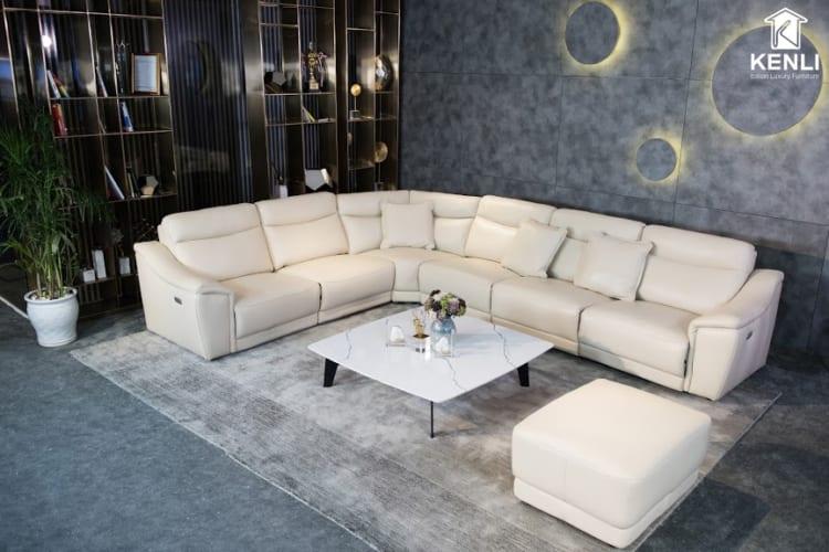 Ghế sofa da thật màu trắng sữa sang trọng