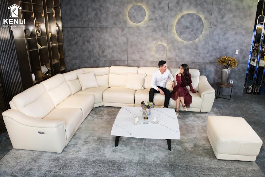Sofa da thật EE27 văng L7