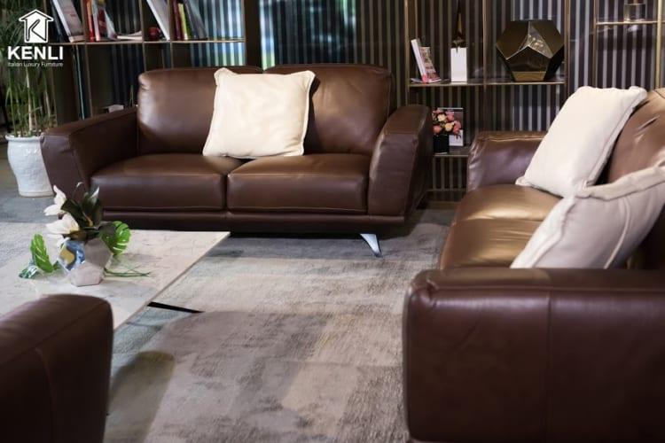 Sofa da thật MD F019 văng 2 nhỏ có thiết kế nhỏ nhắn gọn gàng