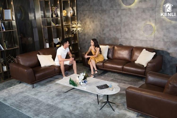 Sofa da thật F019 full bộ cho ta cảm giác thanh thoát gọn gàng