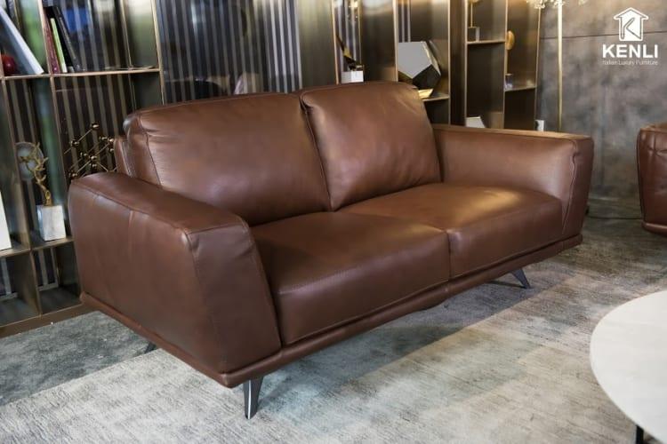 Sofa da thật MD F019 văng 2 nhỏ có thiết kế gọn gàng tinh tế
