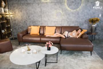Sofa da thật Sissy E119 văng L3 (L3070xW1060/1610xH820)
