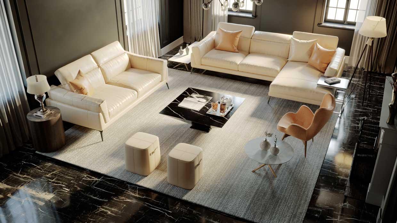 Sofa da thật F021 full bộ (văng L 3 chỗ + văng 2) có thiết kế tinh tế