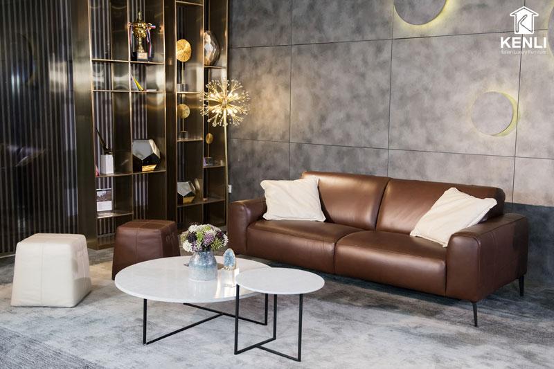 sofa da thật E119 văng đôi