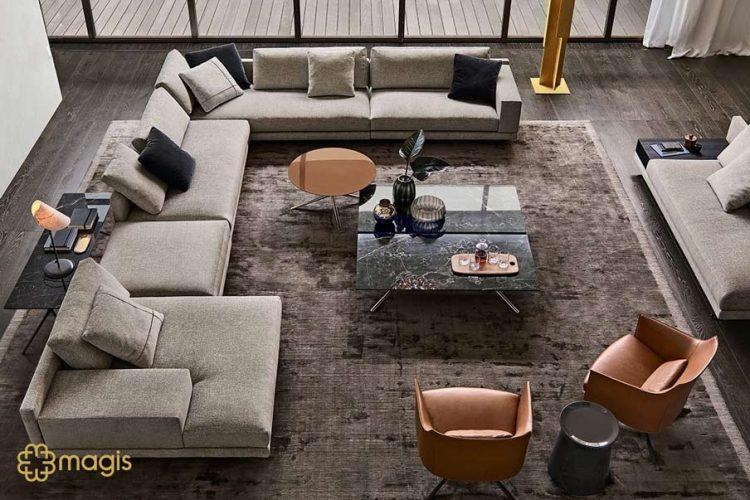 Bàn trà Vast kết hợp với bộ sofa lớn khiến phòng khách thêm bề thế sang trọng