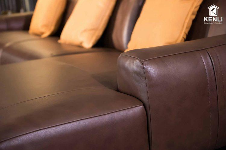 Chi tiết của ghế sofa da thật E119 văng L