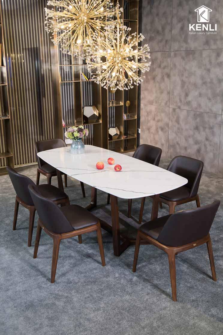 bàn ăn dài trắng 6 ghế