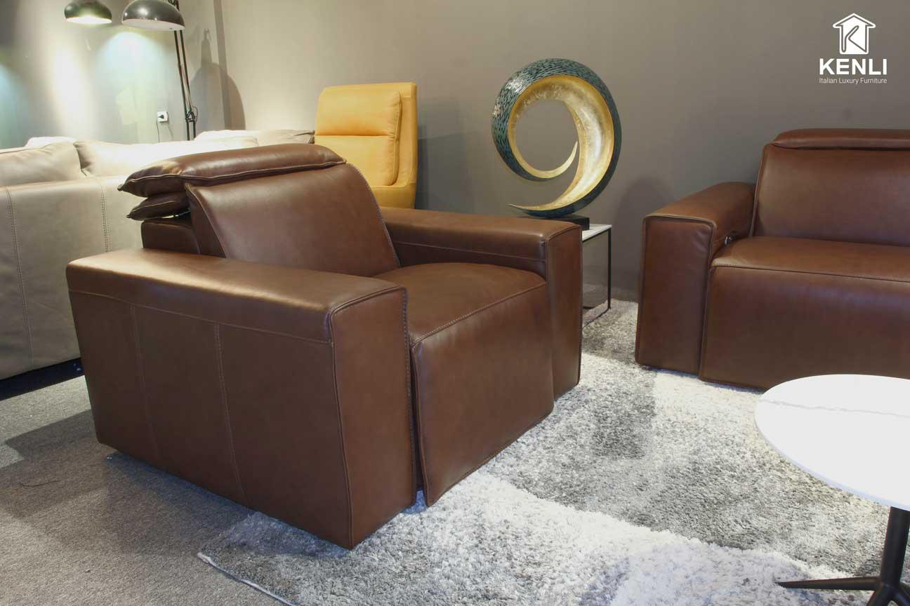 Sofa da thật EE87 văng đơn có thiết kế đơn giản khỏe khoắn