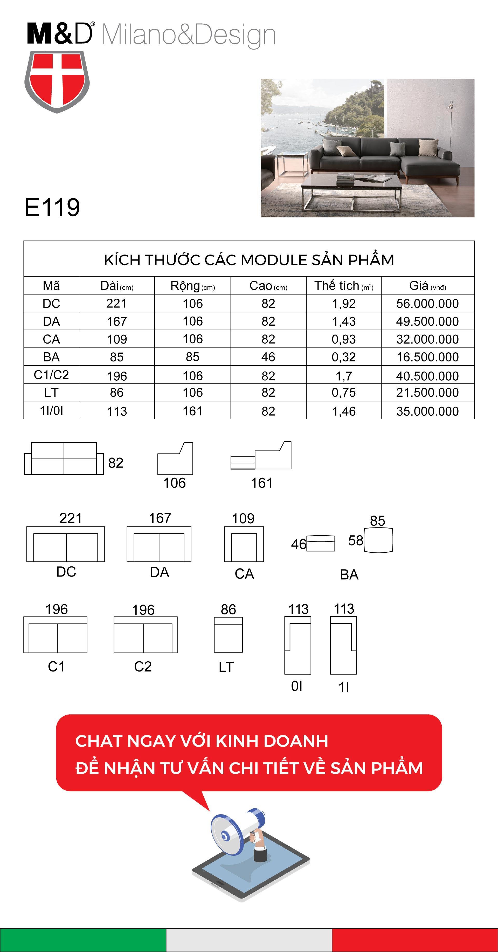 Bảng kĩ thuật sofa E119