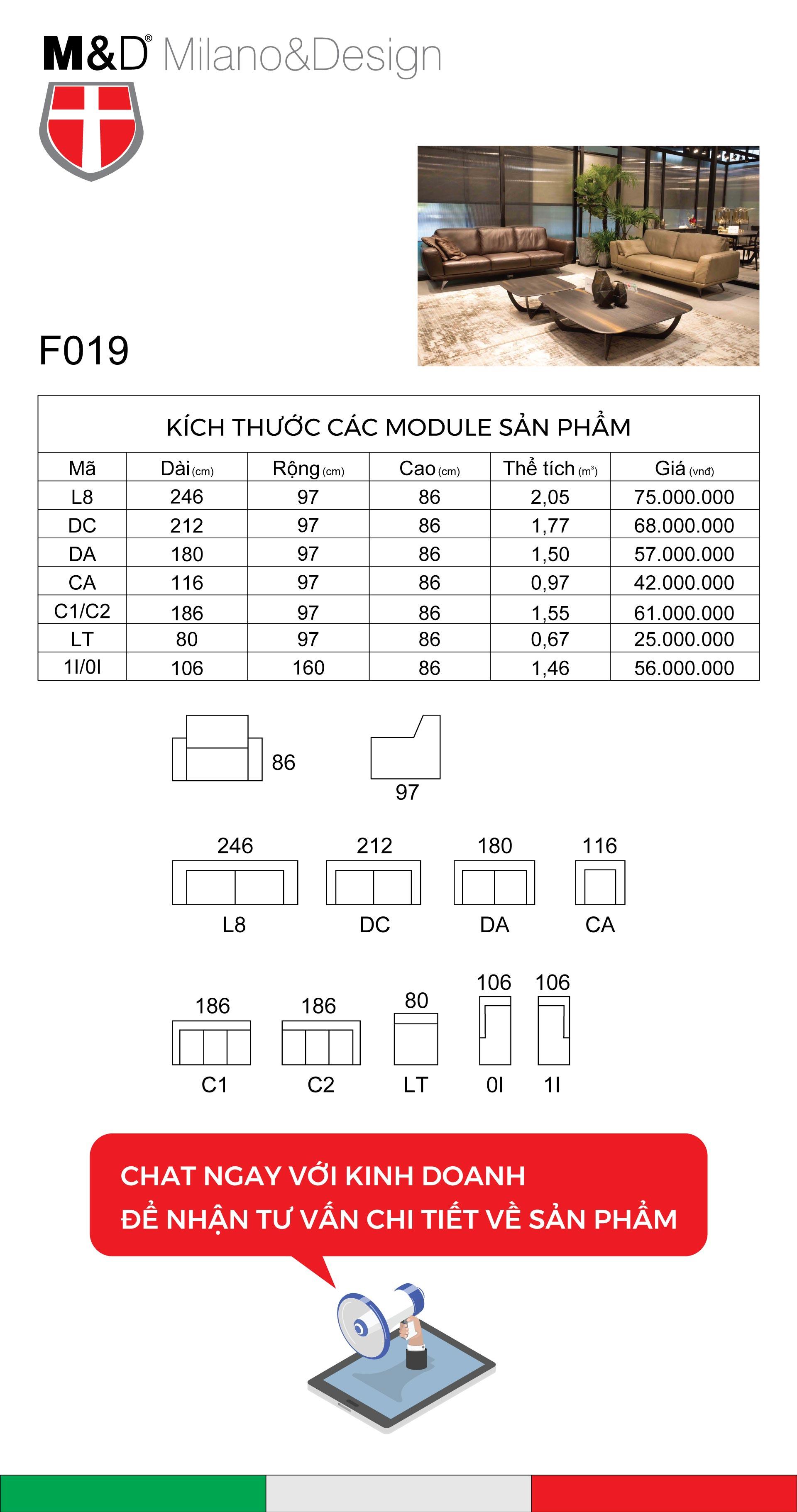 bảng kĩ thuật sofa F019