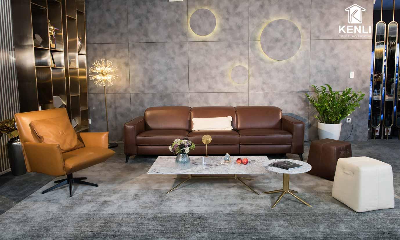 bộ sofa da nâu