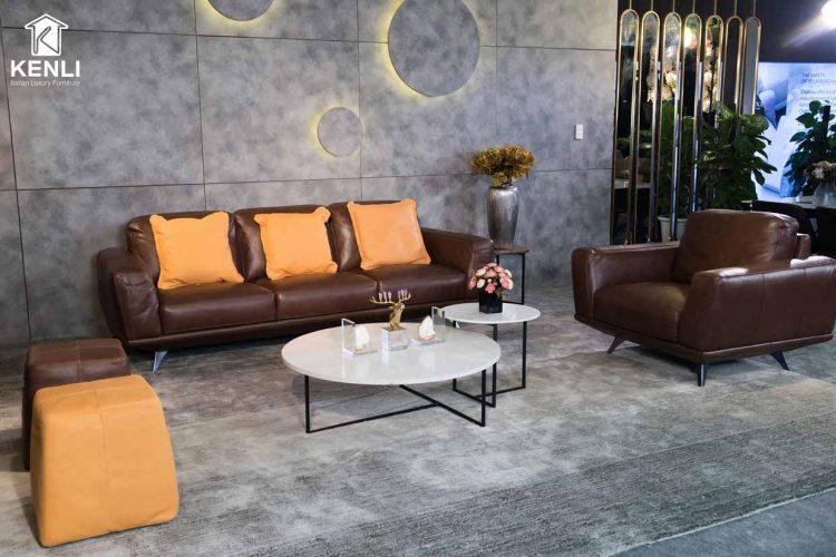 Sofa da thật MD F019 văng đơn có thiết kế nhỏ gọn