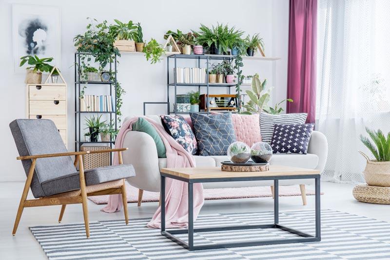 thiết kế nội thất phòng khách phong cách Boho