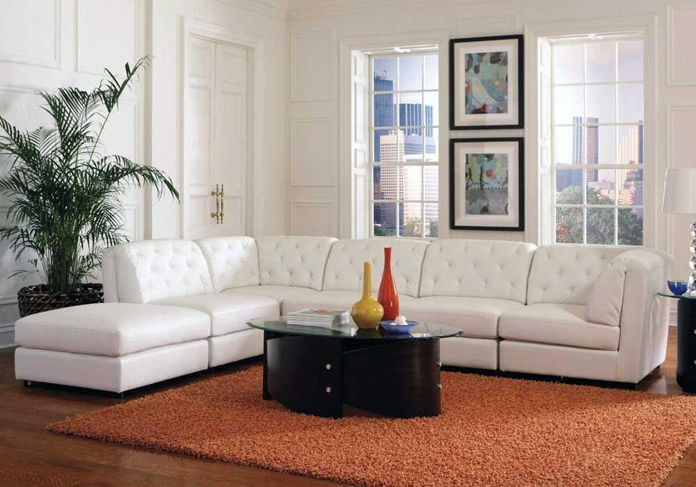 sofa da thật chữ L màu trắng