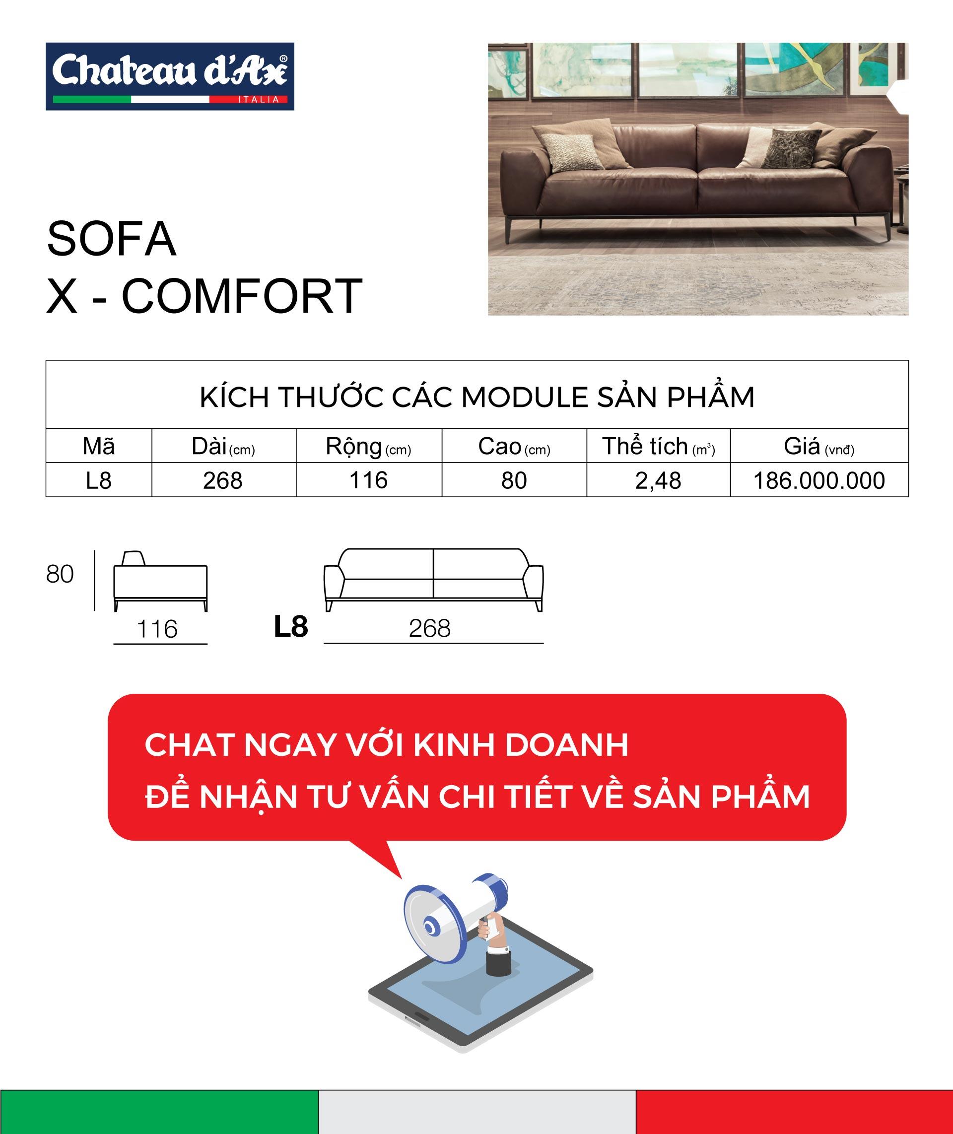 miêu tả kĩ thuật sofa x comfort