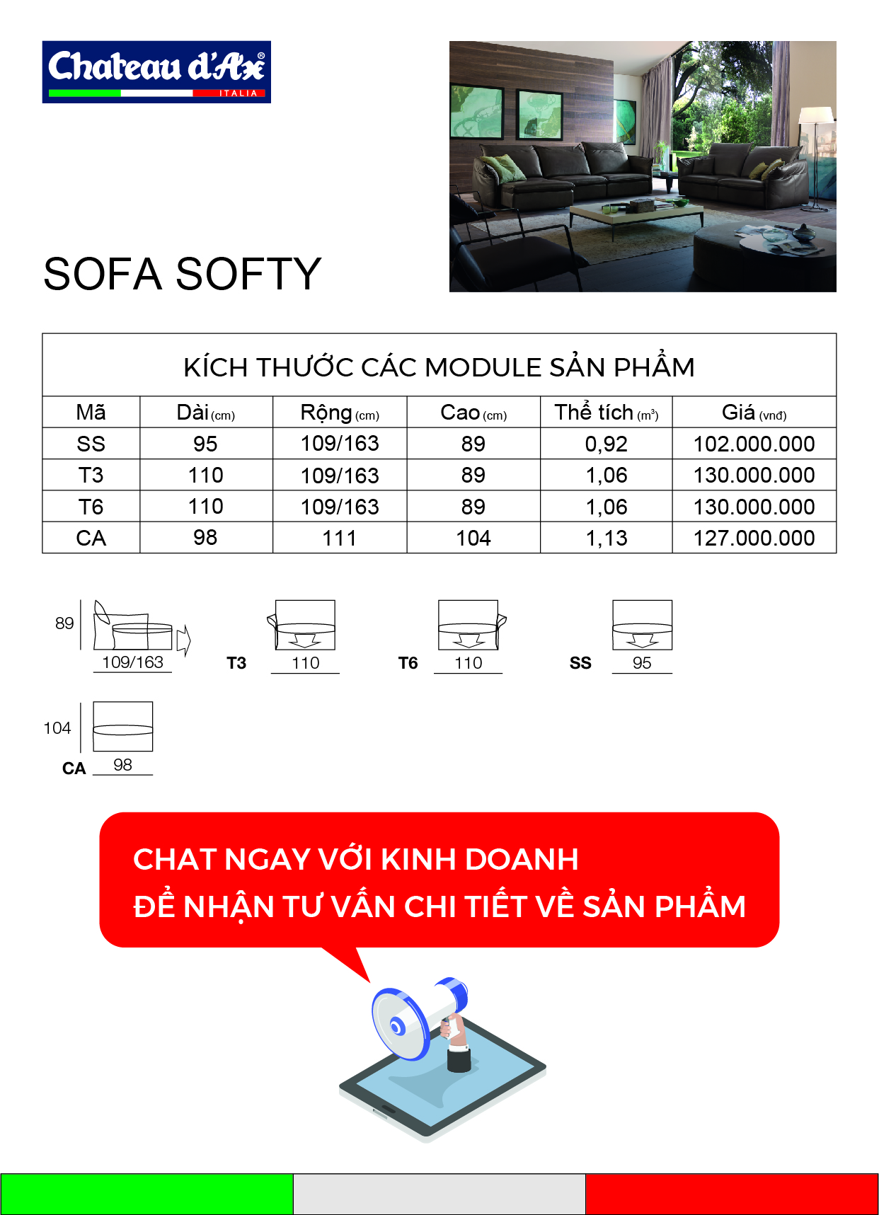 miêu tả kĩ thuật sofa Softy